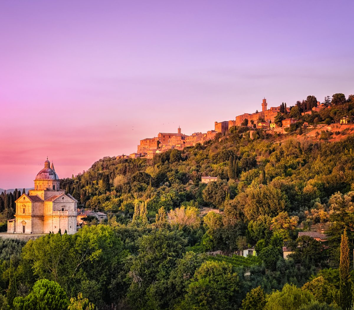 San Biagio cathedral at colorful sunset